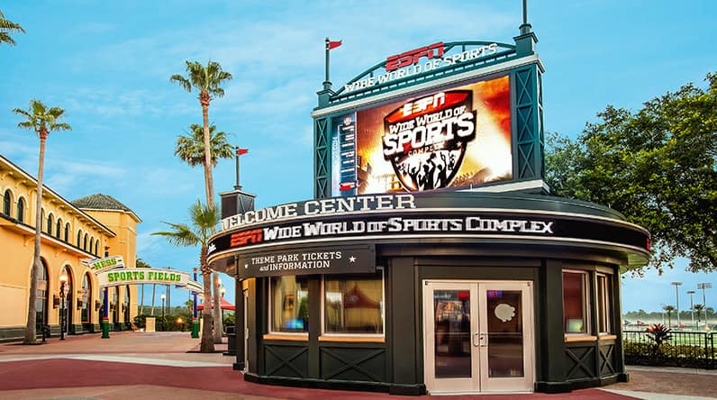 The round Welcome Center kiosk at ESPN Wide World of Sports