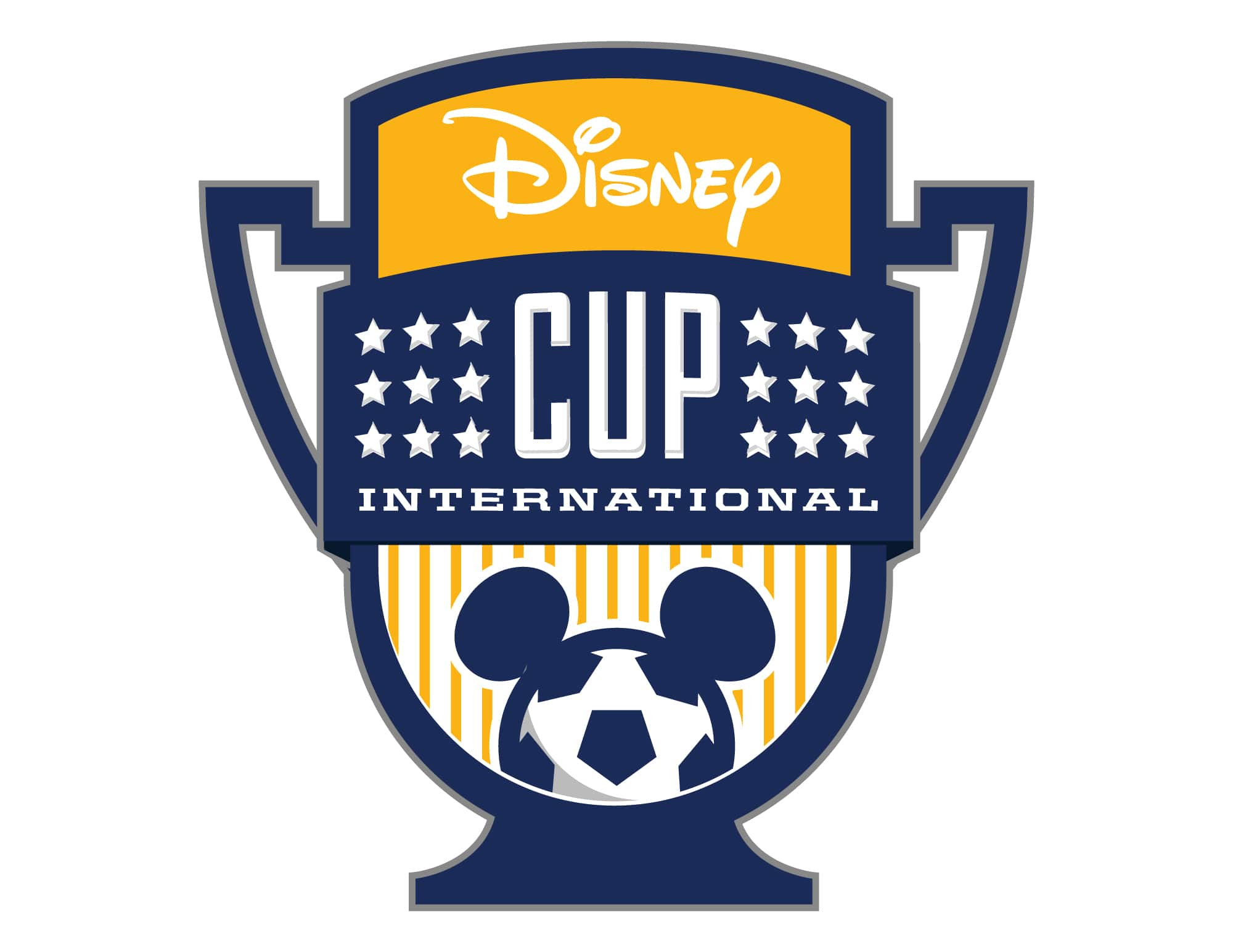 An icon of a cup with a soccer ball with mouse ears with the words Disney Cup International