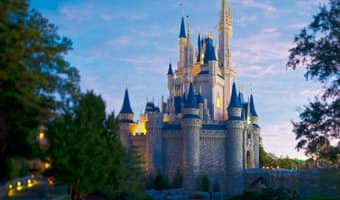 Dawn over Cinderella Castle in Magic Kingdom park