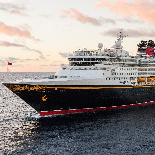 The Disney Magic cruise ship sails the opens seas