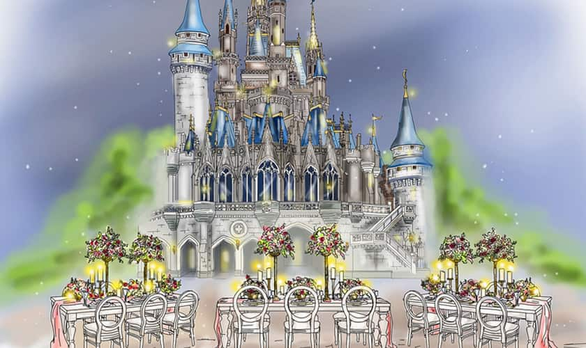 Illustration of formally set tables with chairs outside Cinderella Castle at night