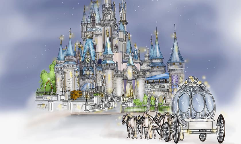 Illustration of Cinderella's Crystal Coach led by 6 horses outside Cinderella Castle at night