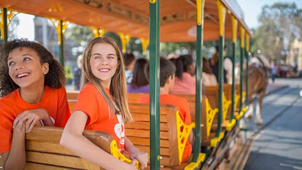 Young Guests aboard a horse drawn trolley ride