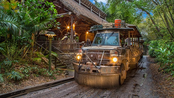 The open air vehicle of the Kilimanjaro Safaris attraction