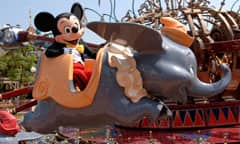Mickey Mouse Riding in Dumbo the Flying Elephant