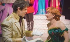 Princess Anna and Prince Hans kneeling and gazing at one another