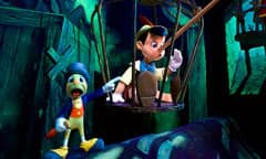 Jiminy Cricket and a Long-Nosed Pinocchio in a Scene from Pinocchio's Daring Journey