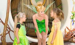 Tinker Bell Talking with Girls Wearing Fairy Costumes