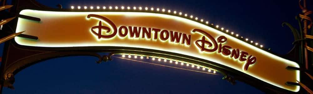 Downtown Disney Sign at Night