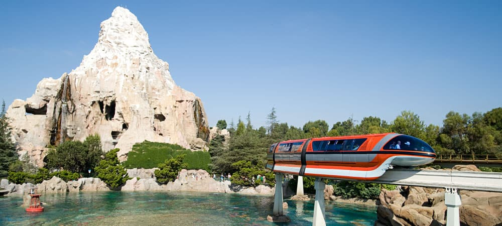 Disneyland Monorail and Matterhorn Mountain