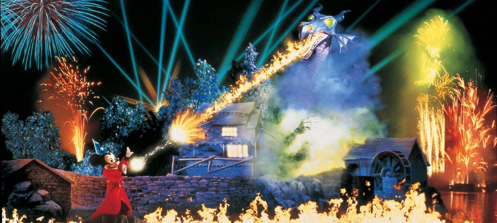 Mickey Battles a Fire-Breathing Dragon in Fantasmic!
