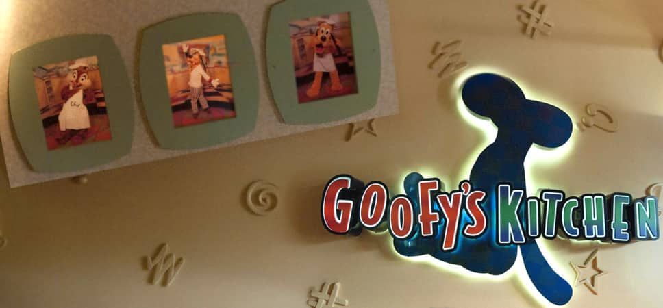 Find framed photos of Goofy, Chip and Pluto in the entrance to the restaurant.