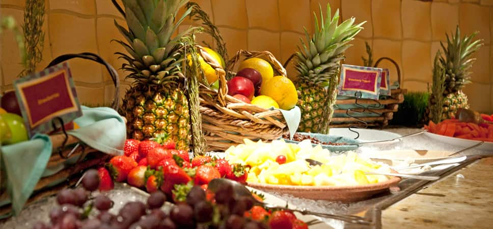 An abundant display of fresh fruits.
