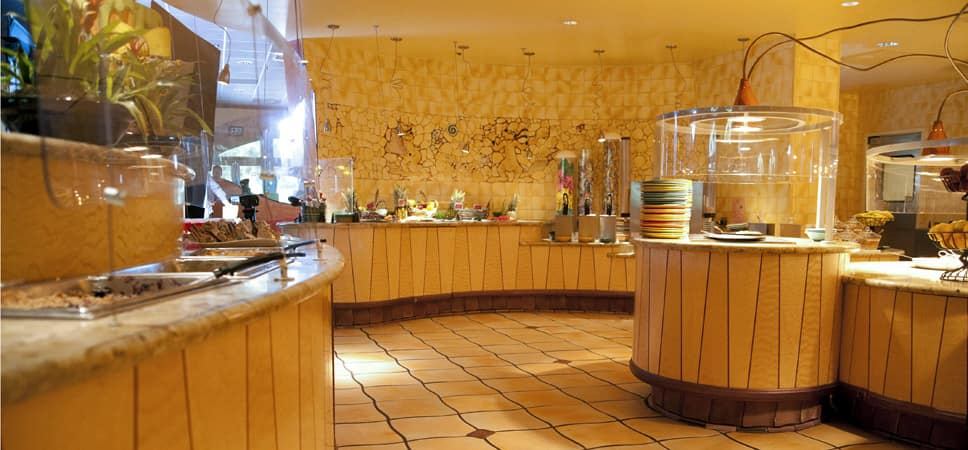 A wide-shot of the buffet display.