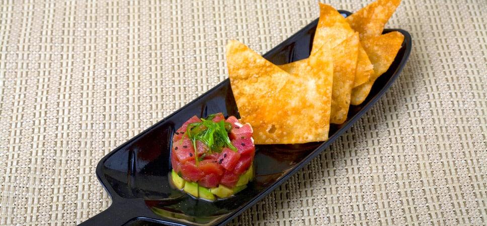 Shot of tasty tuna dish