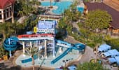 Aerial shot over the Monorail Pool at Disneyland Hotel.