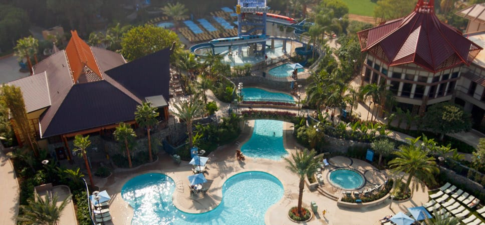 A very high aerial view of the Disneyland Hotel pool area.