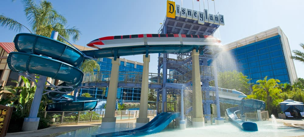 Water slides and play area at the Disneyland Hotel Monorail Pool.