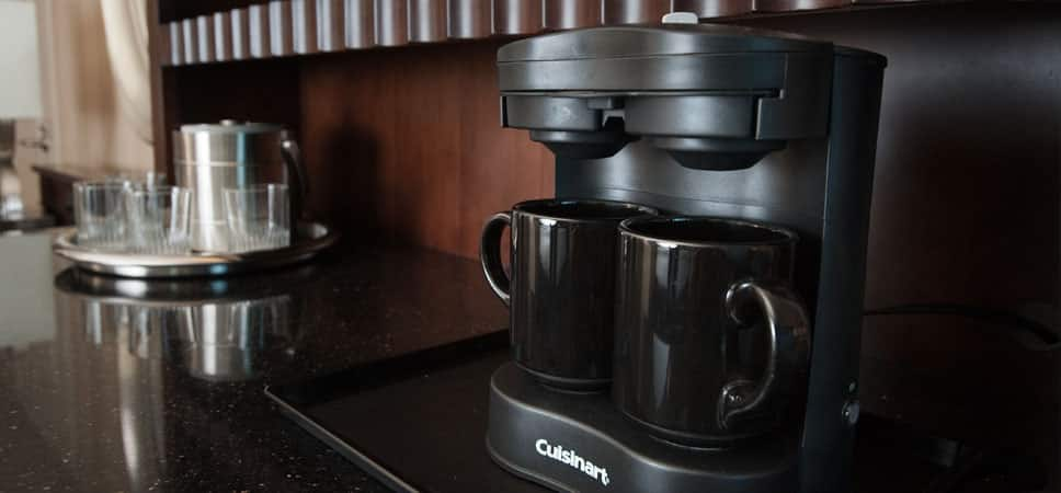 A convenient 2-cup coffee maker.