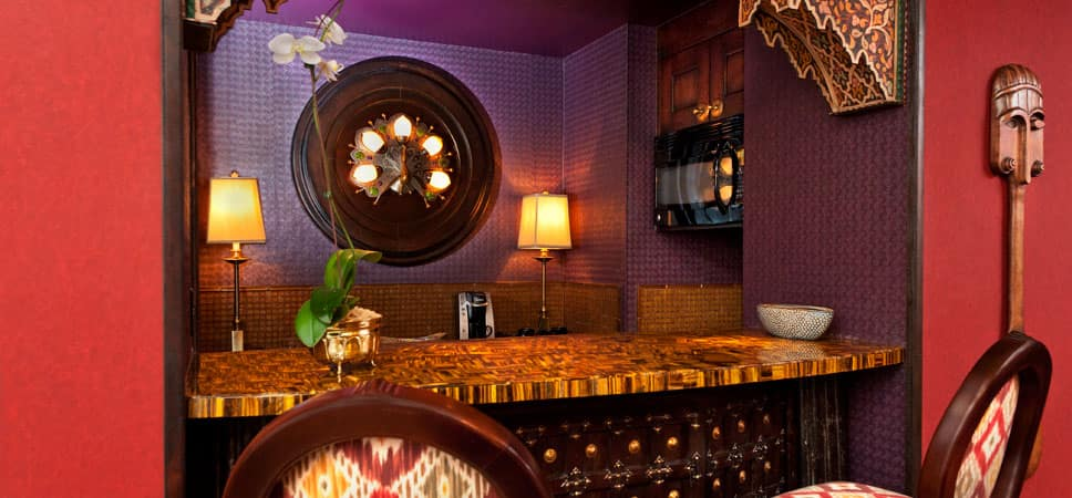 Wet bar, decorated with Asian and Indian influences.