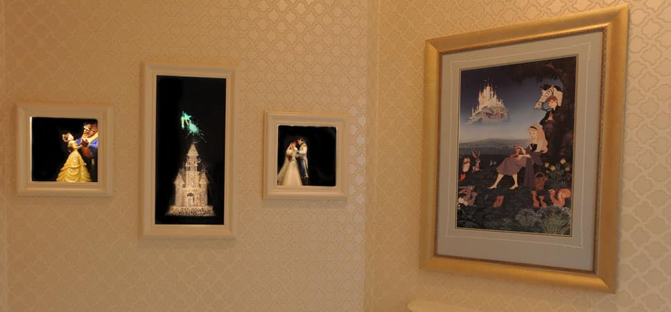Photos and images of Aurora and Prince Phillip, Belle and the Beast, and Tinker Bell.