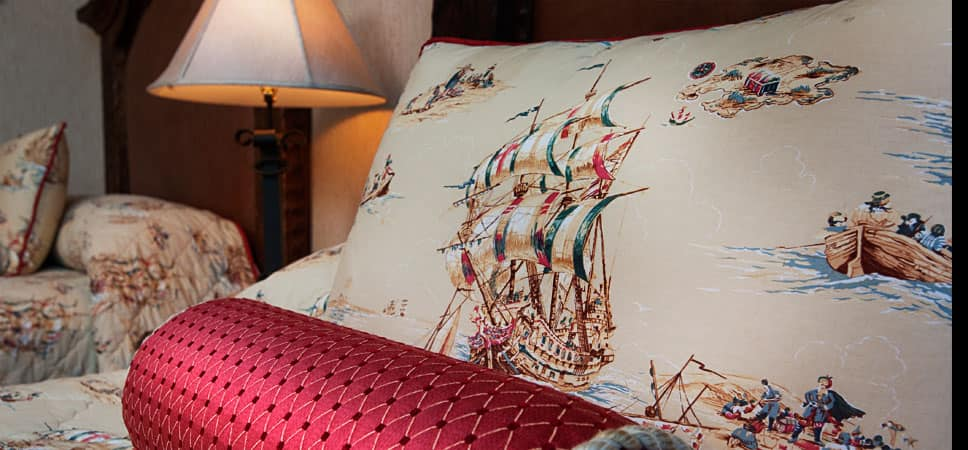 Pirate-themed comforter and pillow shams.