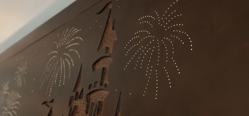 The Castle carving and fiber optics create a nighttime sky filled with stars and fireworks.