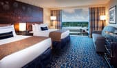 2 queen-size beds in a Standard Room with premium view at the Disneyland Hotel.