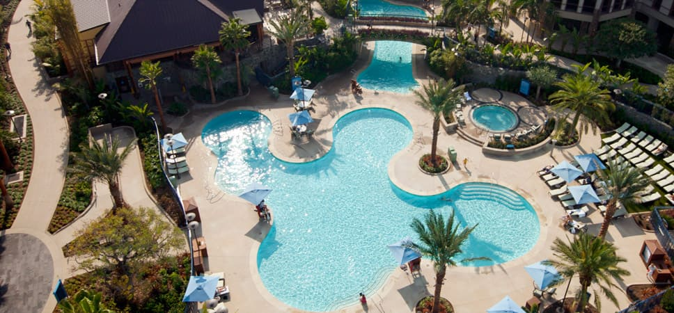 An aerial view of the Disneyland Hotel pool and spa area.