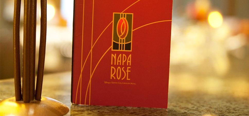 El menú: Napa Rose del Disney's Grand Californian Hotel.