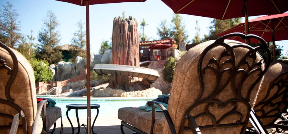 Point of view of the water slide from a lounge chair.