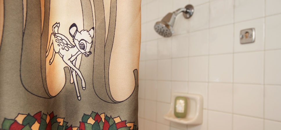 Close up on shower curtain detail of Bambi
