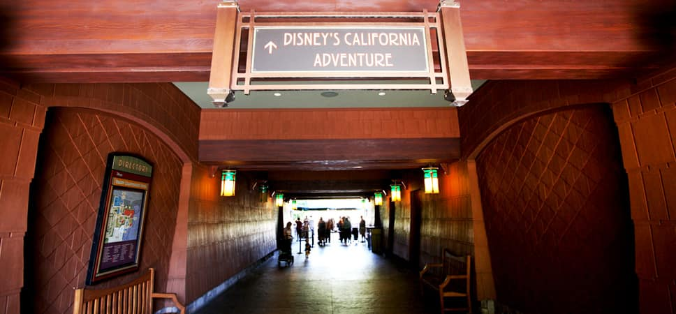 Sign to Disney's California Adventure Park over special entrance for Resort hotel Guests with theme park tickets.