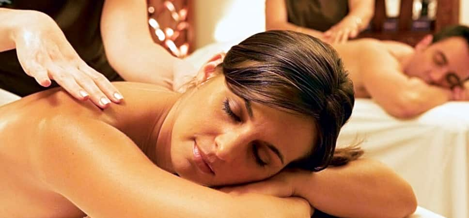 A woman receives a massage at the Mandara Spa at Disney's Grand Californian Hotel & Spa.