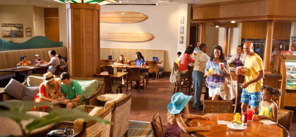 Guests relax, plan their day and pick up drinks and snacks at the Coffee Bar shop.