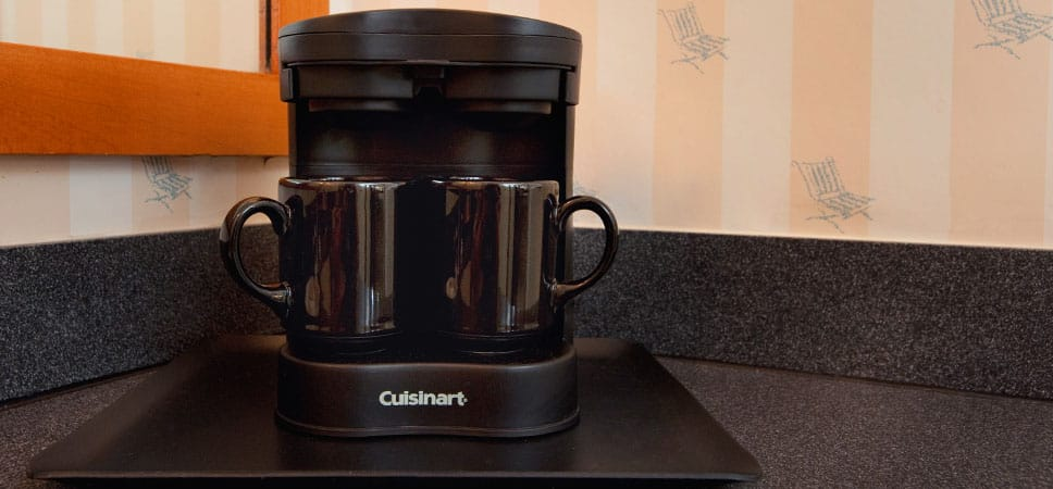 A convenient 2-cup coffee maker