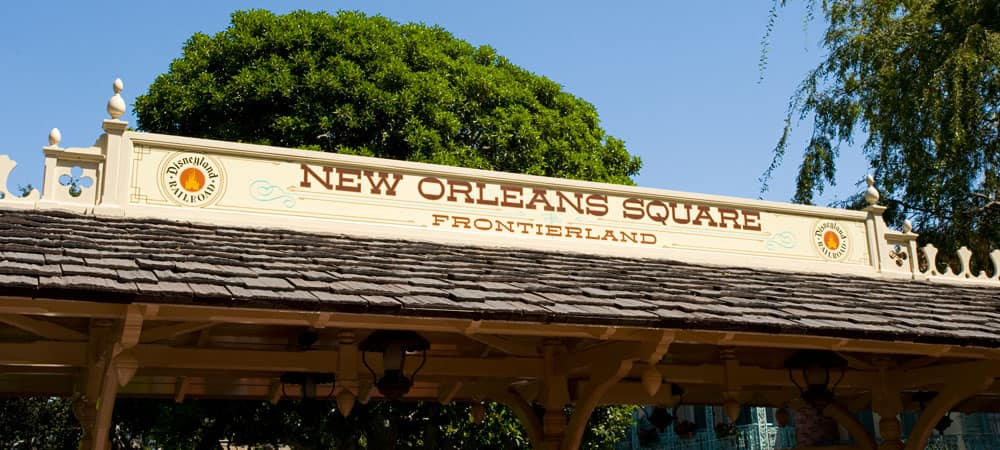 New Orleans Square and Frontierland Railroad Sign