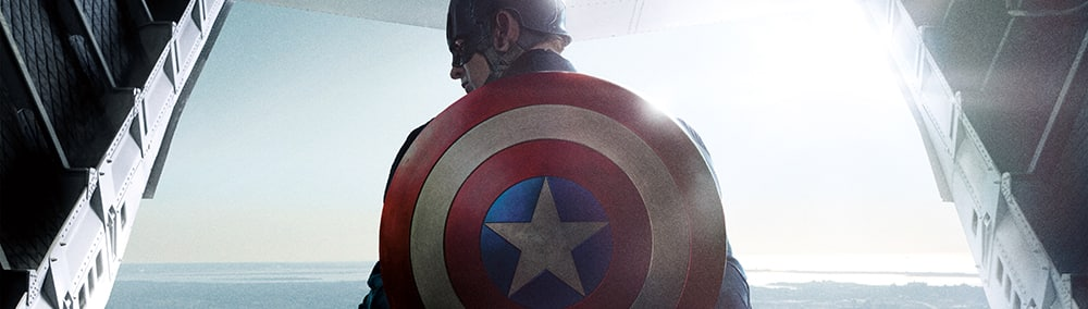 Captain America stands near the rear opening of a cargo jet with his shield strapped to his back.