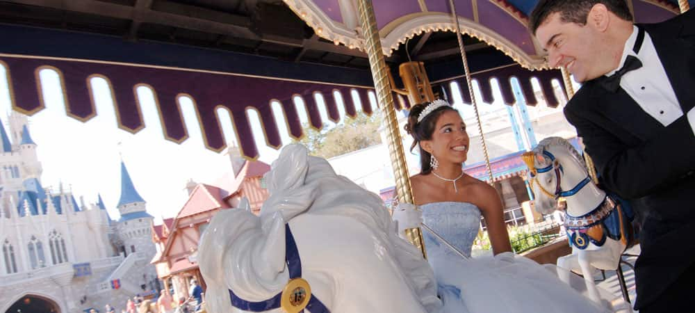 Girl Riding Carousel Horse at Quinceanera