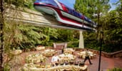Cast members set up buffet stations for an outdoor event as a monorail glides by overhead