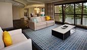 A modern living room with a sofa, an armchair and a coffee table on a rug