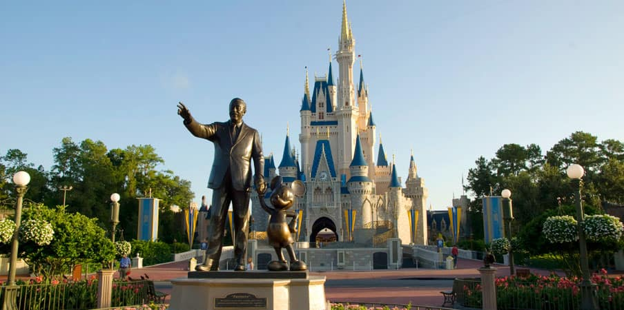 Bronze statue of Walt Disney and Mickey Mouse
