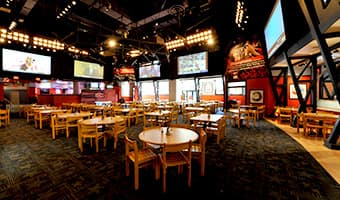 A dining room at the ESPN Wide World of Sports Grill