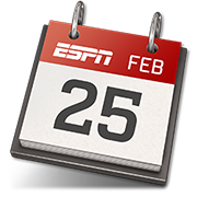 An icon of a calendar page that reads 'ESPN Feb 25'