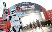 Storm Trooper at finish line of 2018 Star Wars Half Marathon – The Dark Side