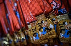 Goofy's Race and a Half Challenge medals during Walt Disney World Marathon Weekend.