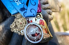 Race medals for runners participating in the Disney Fairy Tale Challenge during Disney Princess Half Marathon Weekend at Walt Disney World Resort.
