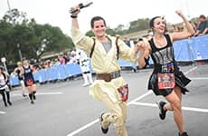 Runners approach the finish line of the Star Wars Rival Run Half Marathon.