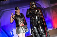 Runner poses with Captain Phasma at the Star Wars Half Marathon – The Dark Side.