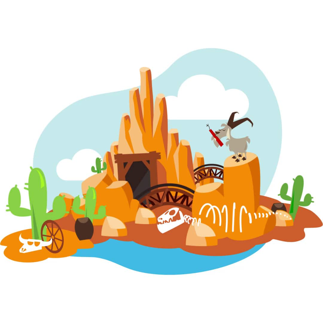 An illustration depicting the Big Thunder Mountain attraction
